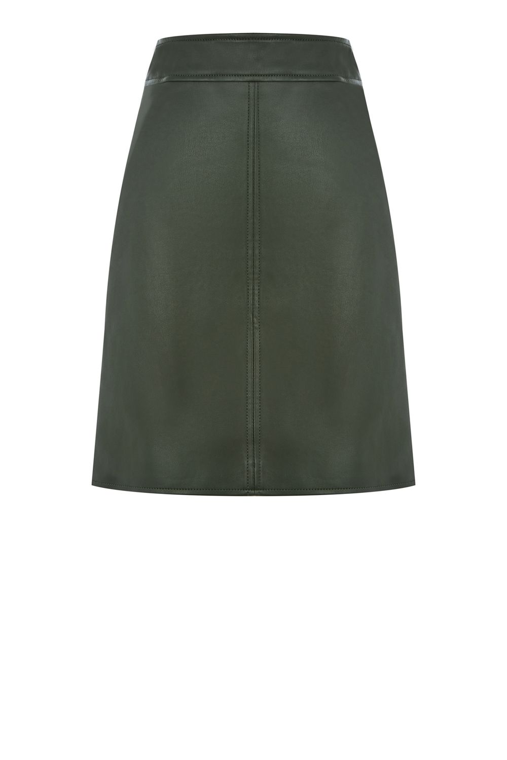 Warehouse Faux Leather Clean Skirt, Khaki
