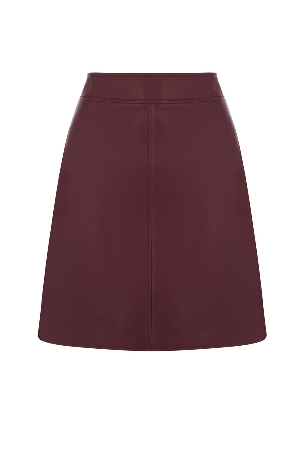 Warehouse Faux Leather Clean Skirt, Dark Red