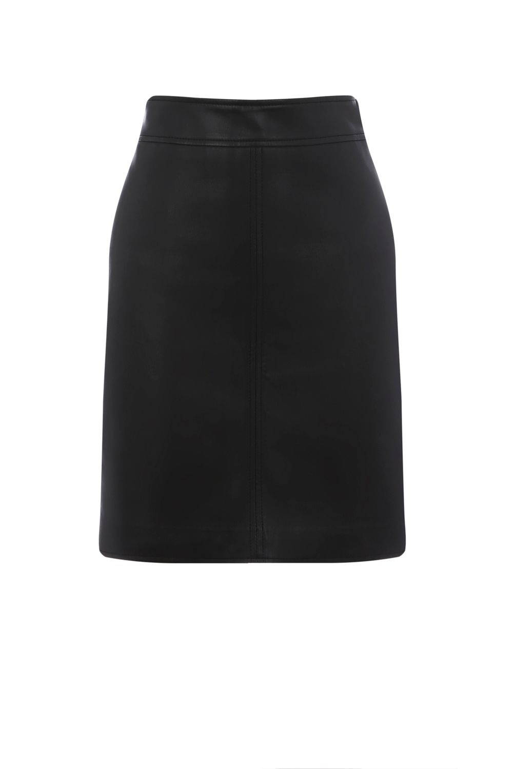 Warehouse Faux Leather Clean Skirt, Black
