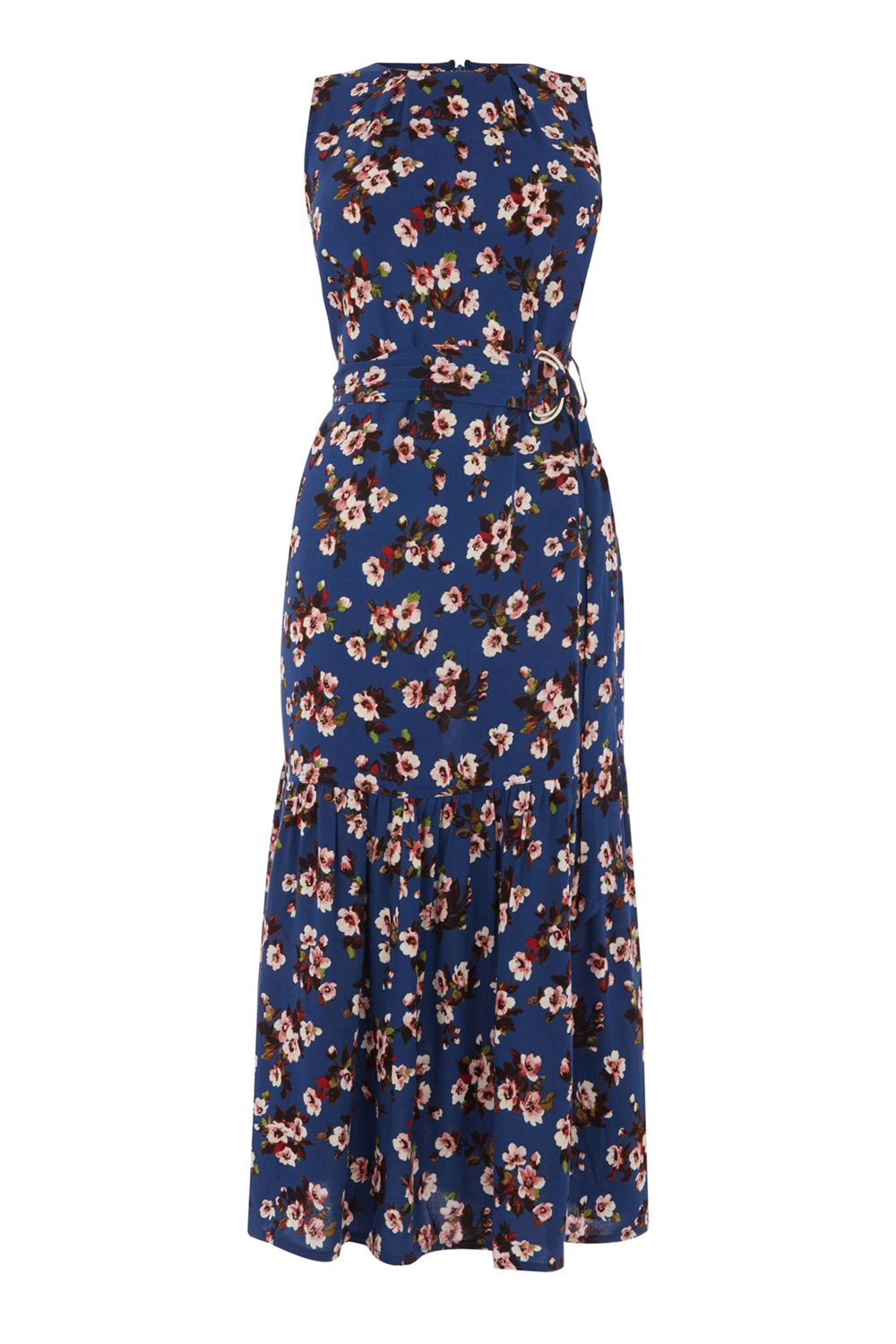 Warehouse Mae Floral Midi Dress, Blue