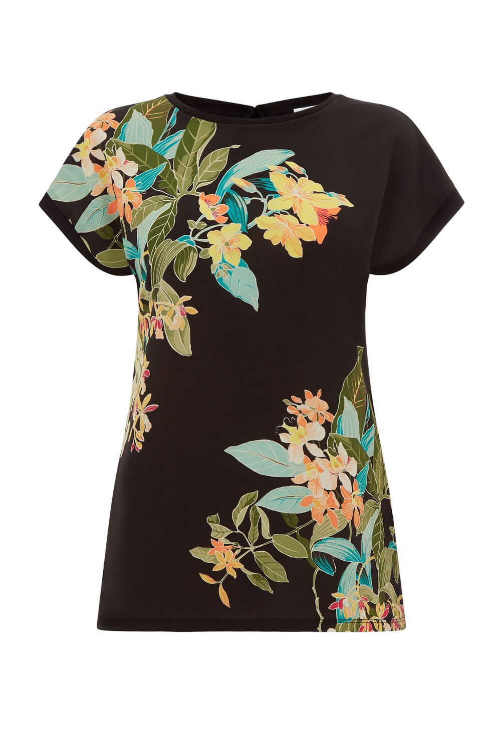 Warehouse Tropical Print Woven Front Tee Black