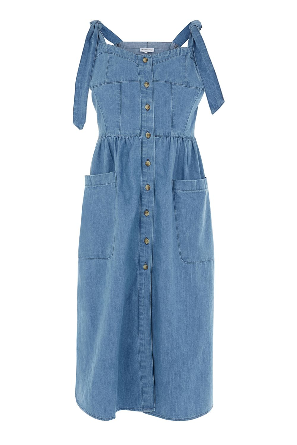 Warehouse Tie Strap Pocket Dress, Denim