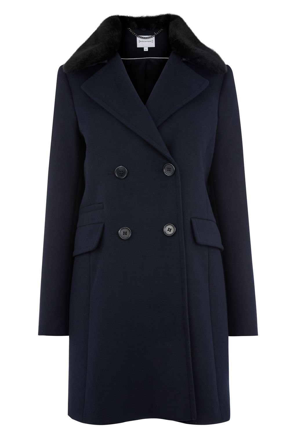 Warehouse Double Breasted Faux Fur Coat, Blue