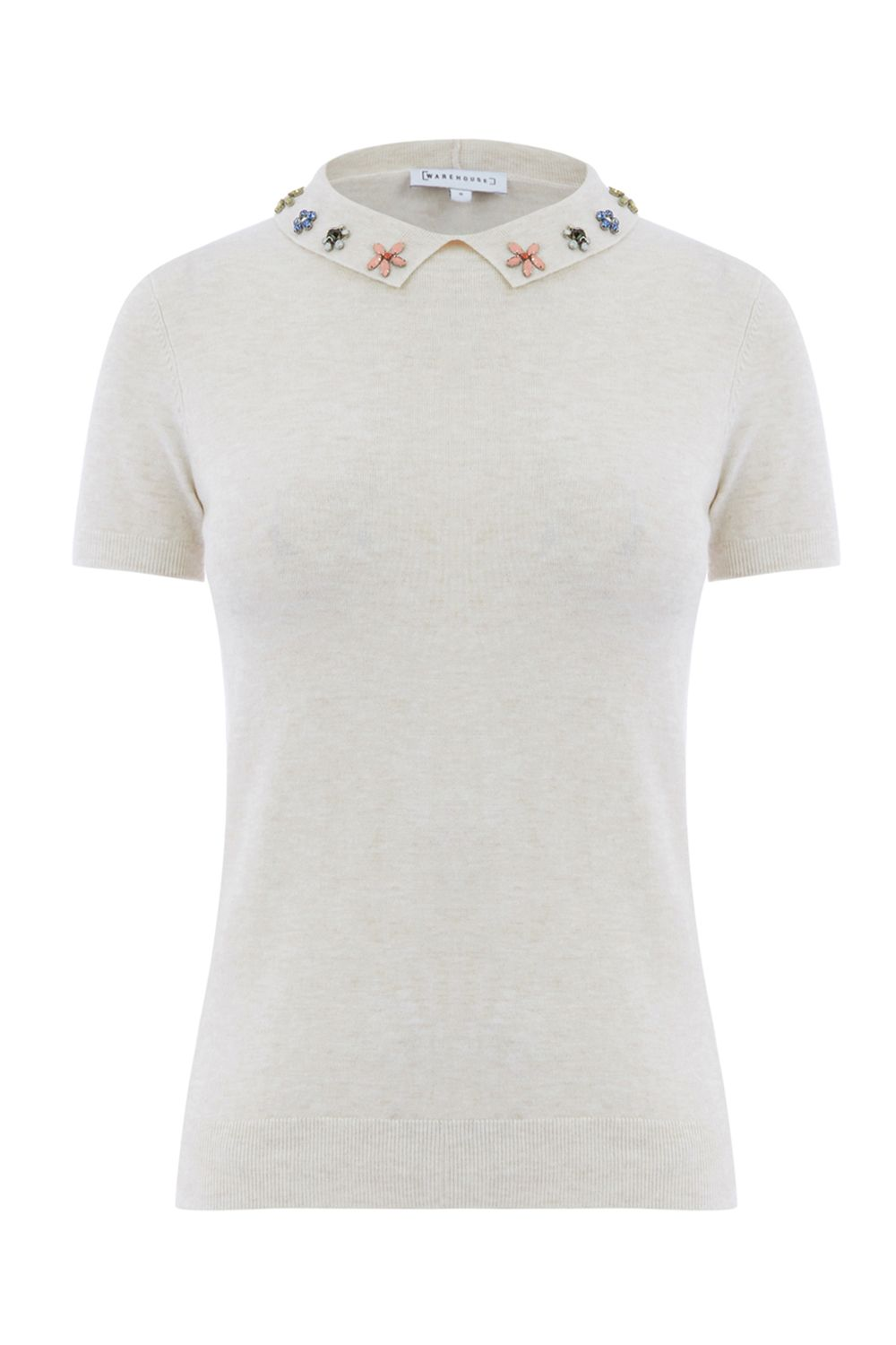 Warehouse Embellished Collar Knitted Top, Cream