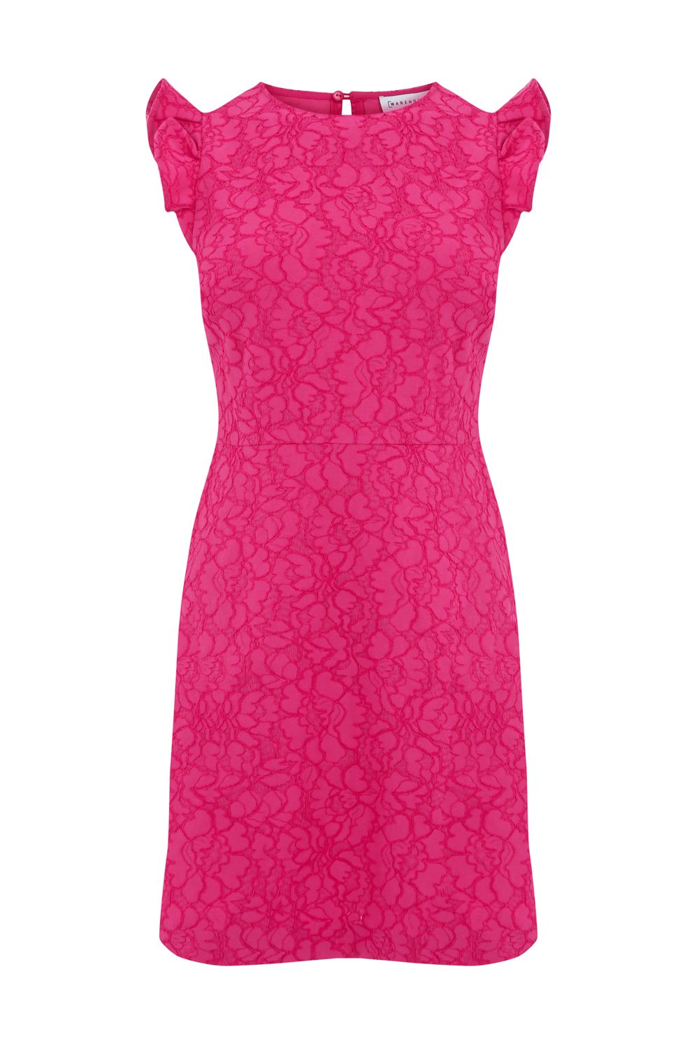 Warehouse Frill Sleeve Bonded Lace Dress, Pink