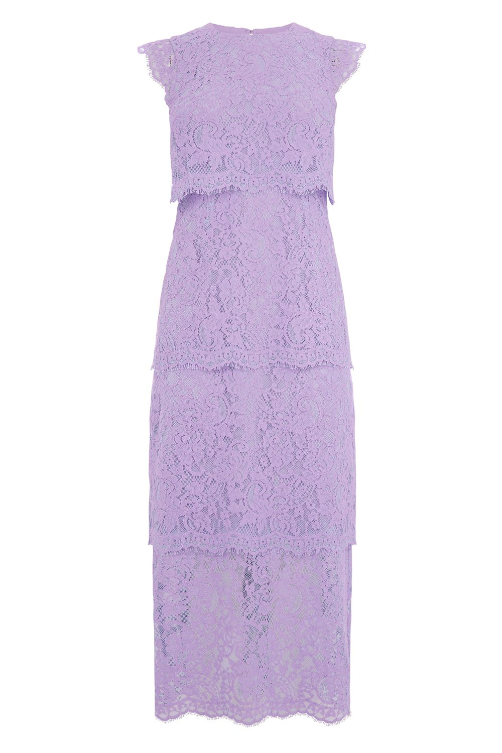 Warehouse Two Tone Tiered Lace Dress Purple