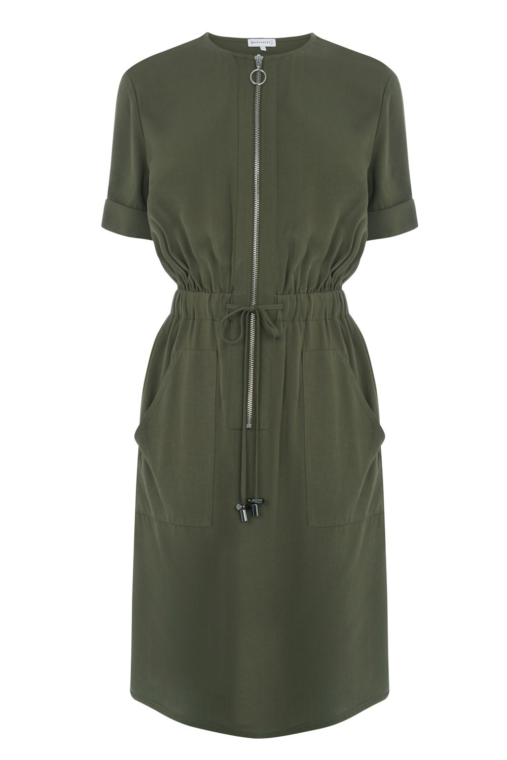 Warehouse Casual Utility Dress, Khaki