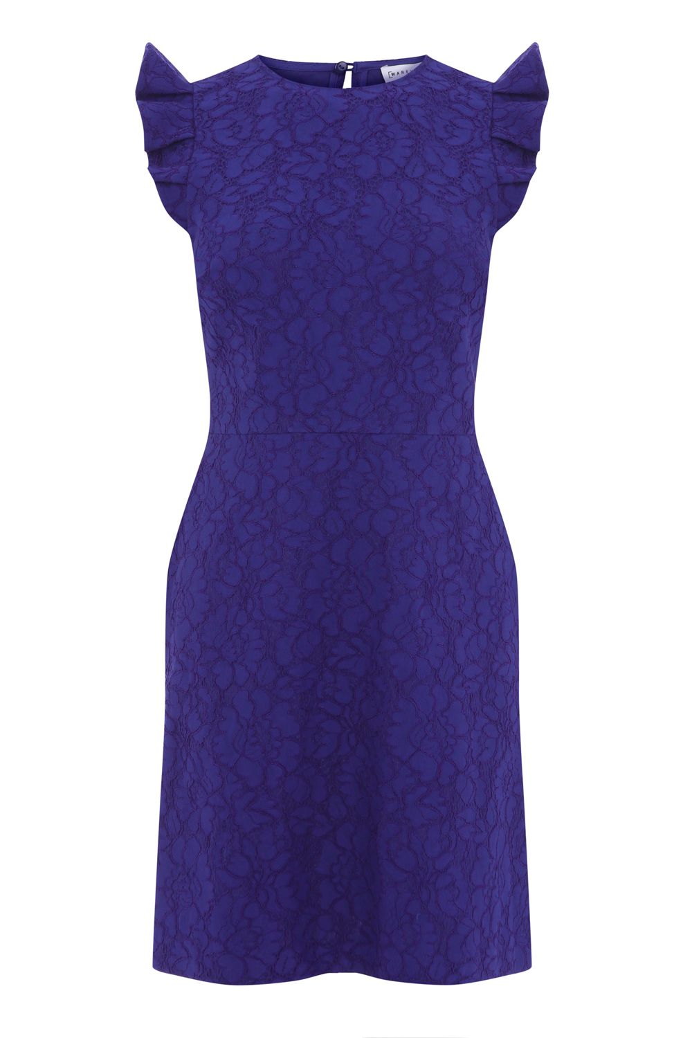 Warehouse Frill Sleeve Bonded Lace Dress, Dark Purple