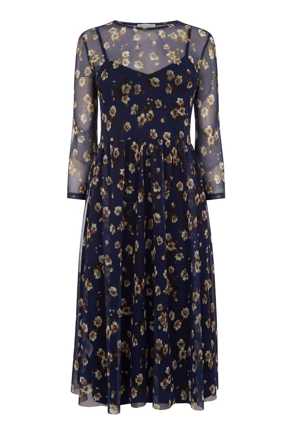 Warehouse Mae Floral Print Mesh Dress, Multi-Coloured