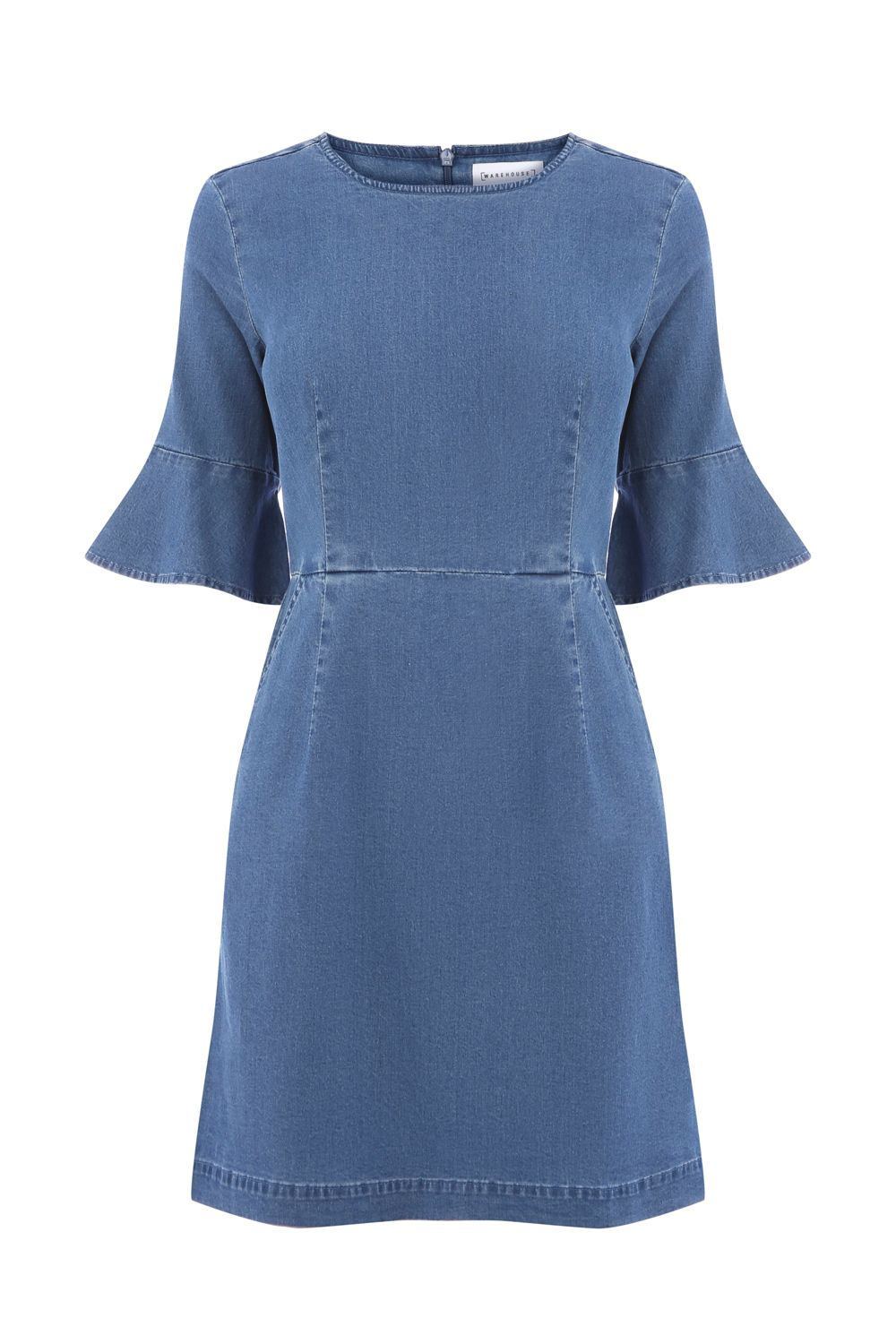 Warehouse Fit And Flare Dress, Denim