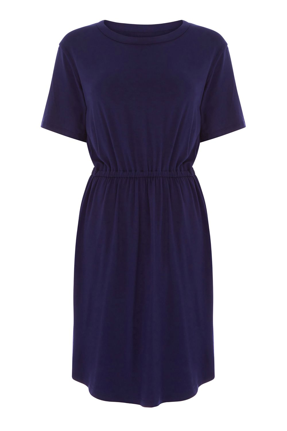 Warehouse Gathered Waist T-Shirt Dress, Blue