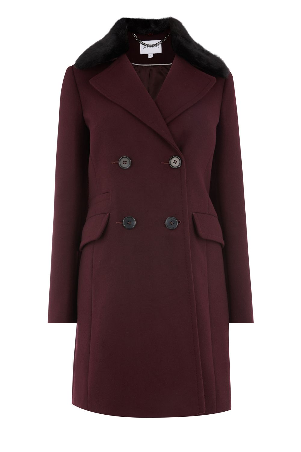 Warehouse Double Breasted Faux Fur Coat, Berry