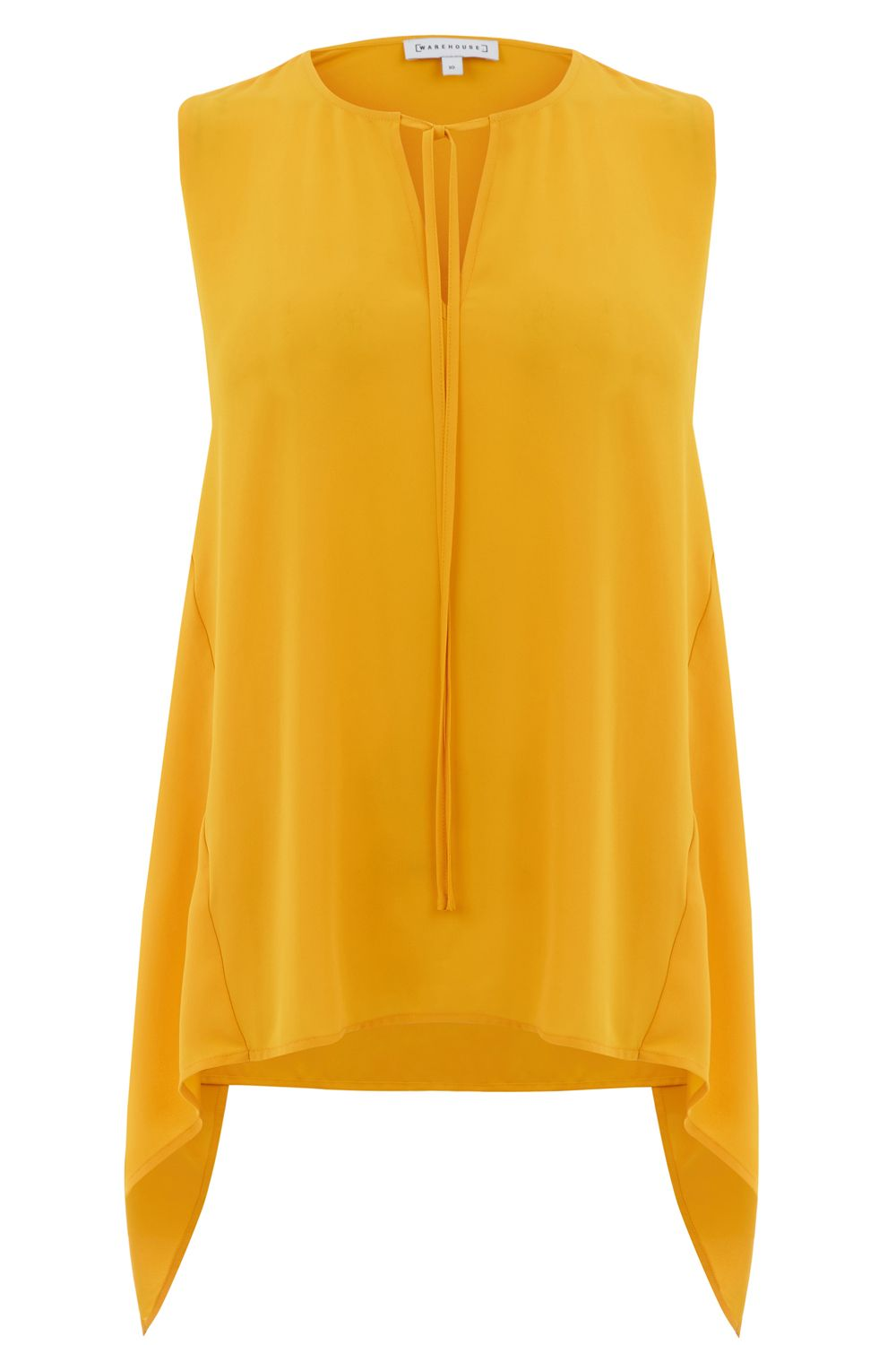 Warehouse Hanky Hem Shell Top, Yellow