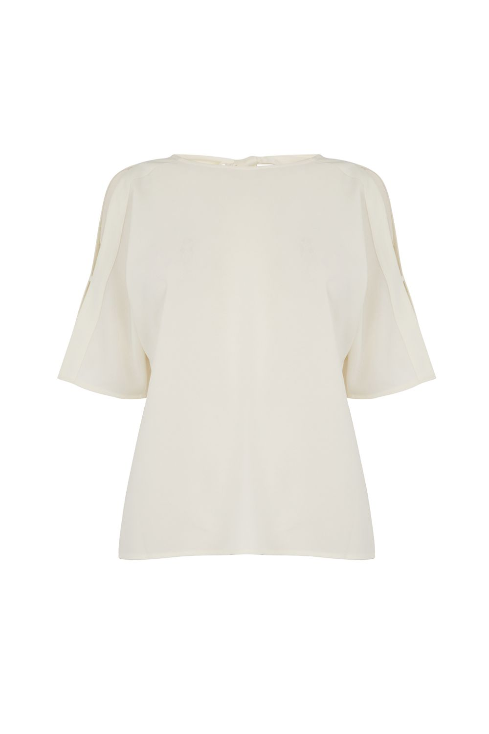 Warehouse Tie Back Sleeve Detail Top, Cream