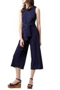 Warehouse Tie Front Crepe Jumpsuit