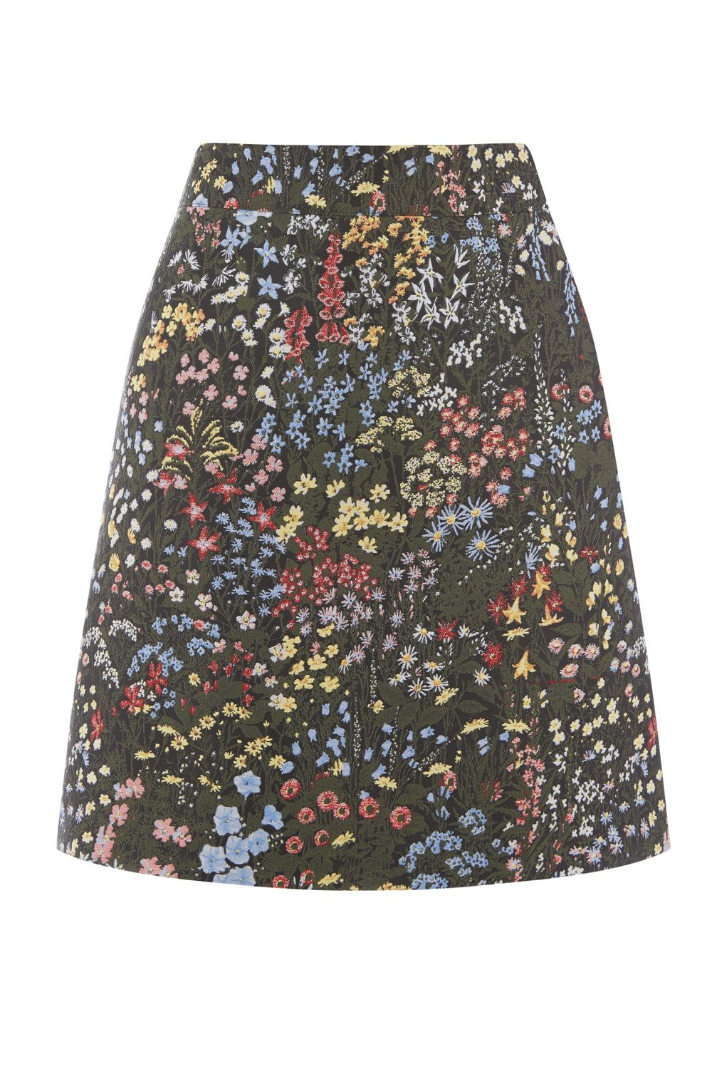 Warehouse Wild Garden Jacquard Skirt, Multi-Coloured