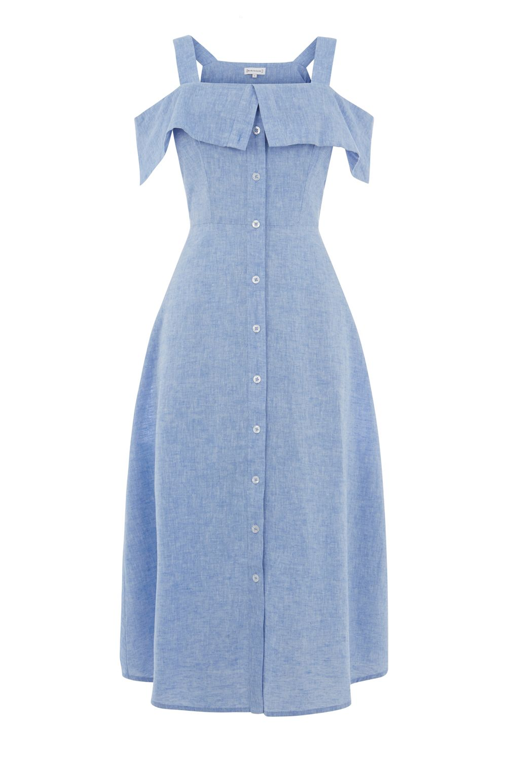 Warehouse Chambray Button Through Dress, Blue