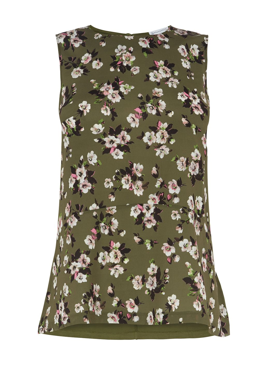 Warehouse Mae Floral Woven Front Top, Green