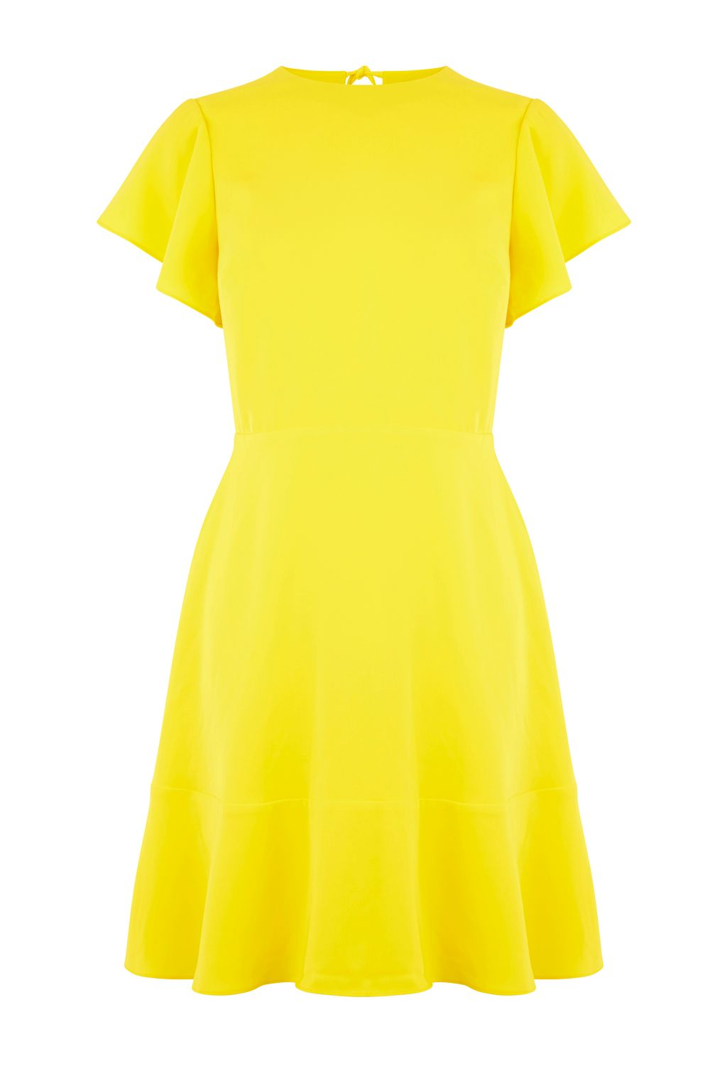Warehouse Flared Sleeve Skater Dress, Yellow