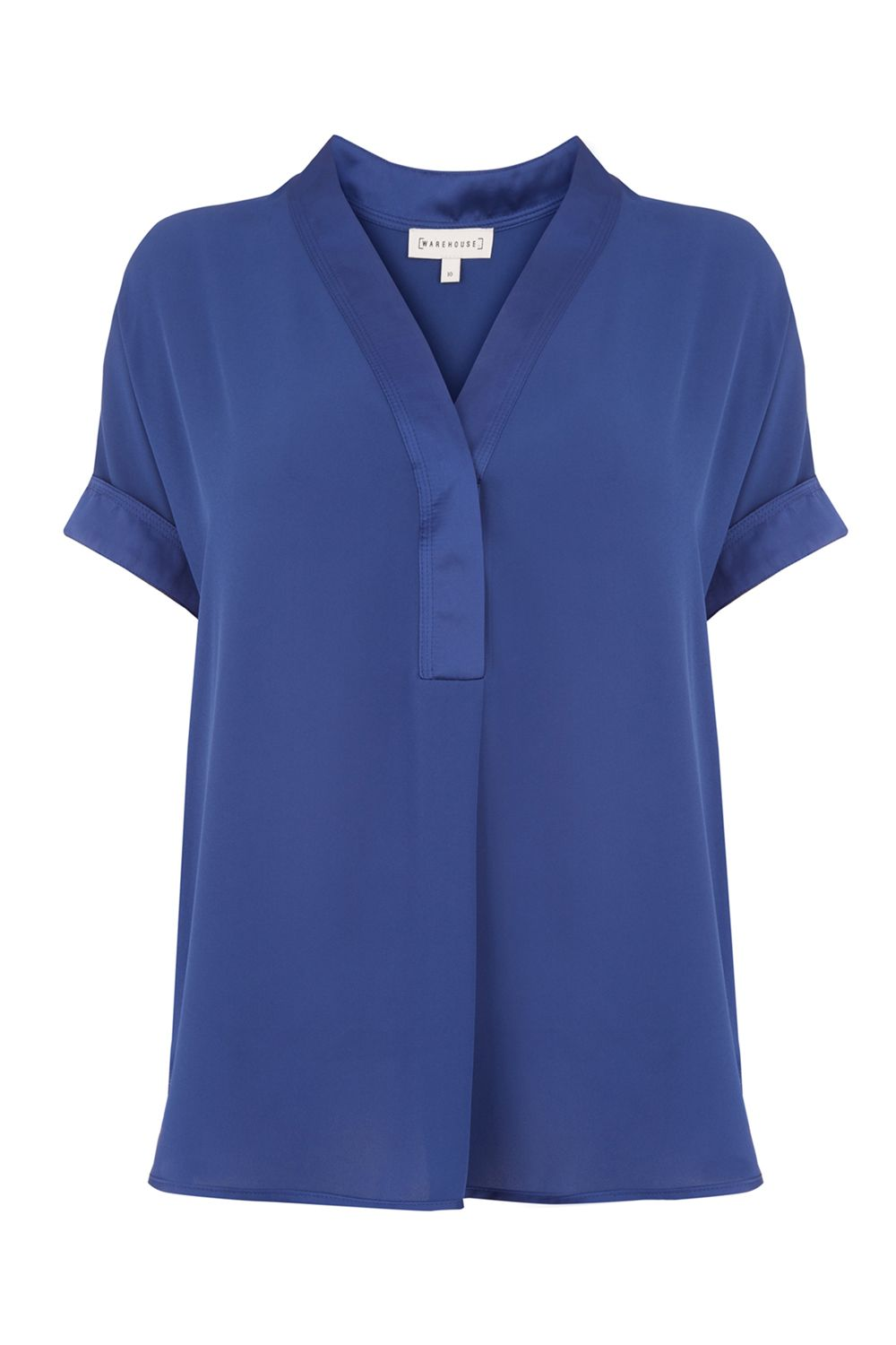 Warehouse Satin Mix Blouse, Blue