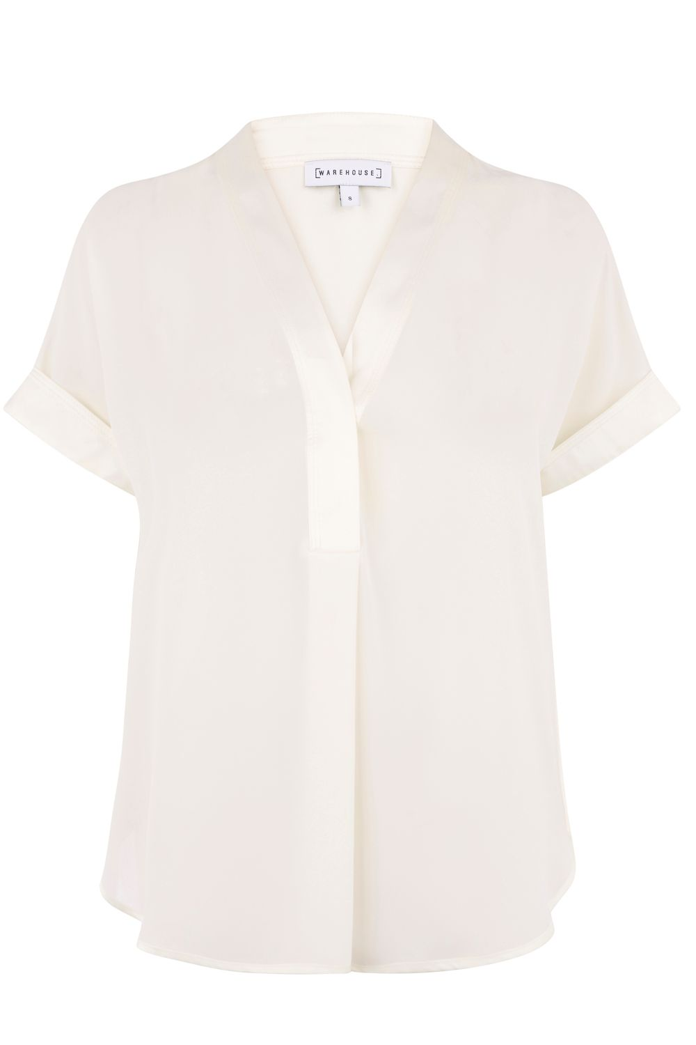 Warehouse Satin Mix Blouse, Cream