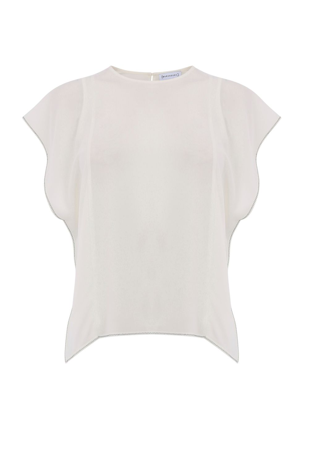 Warehouse Ruffle Sleeve Top, Cream