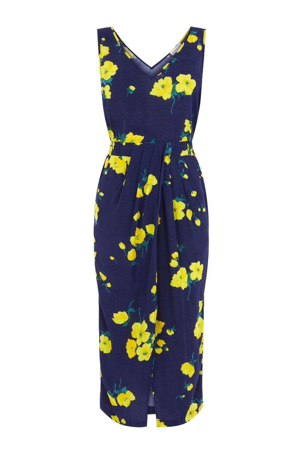 Warehouse Delia Flower Sleeveless Dress, Blue