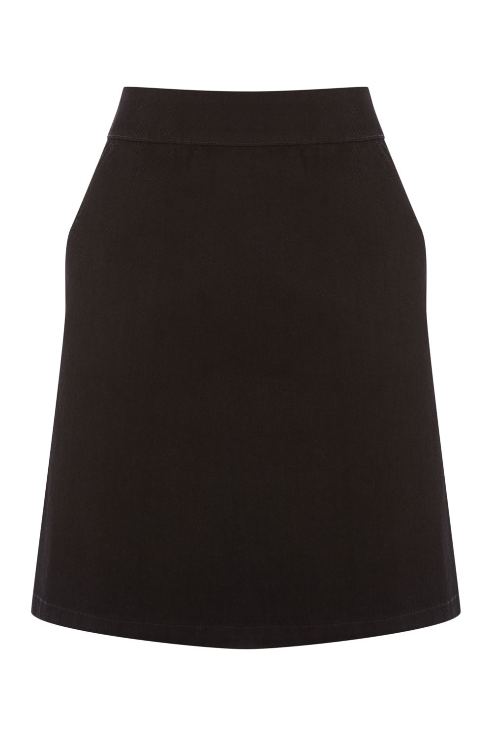 Warehouse A Line Denim Skirt, Black