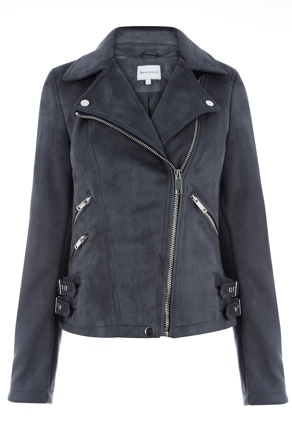Warehouse Suedette Biker, Dark Grey