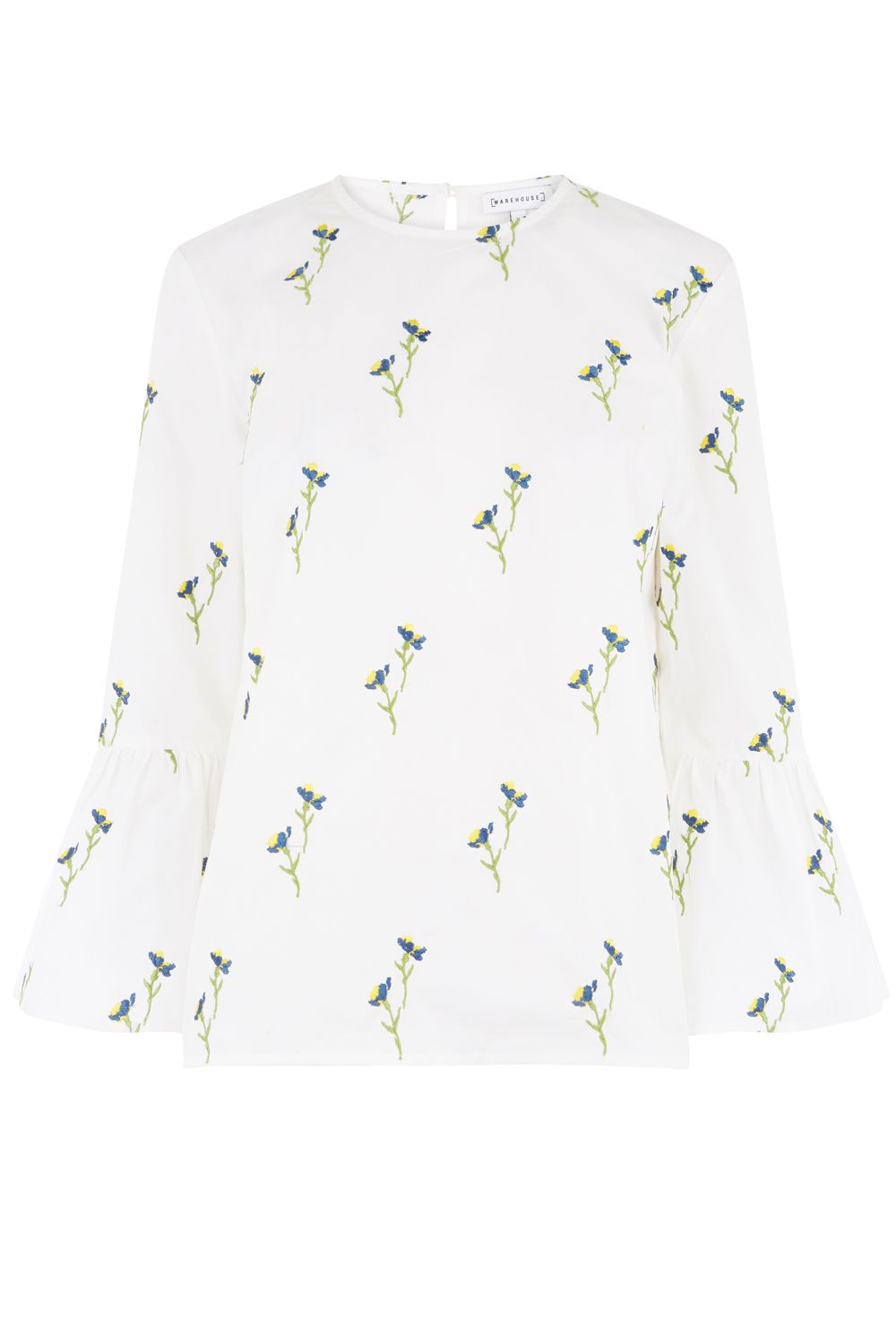 Warehouse Iris Embroidered Top, White
