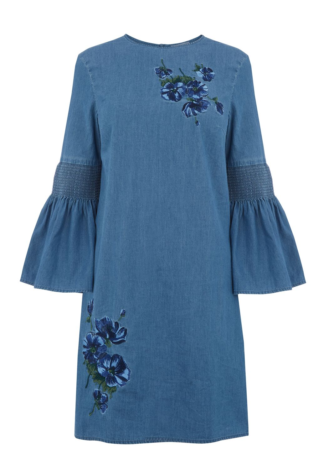 Warehouse Embroidered Dress, Denim