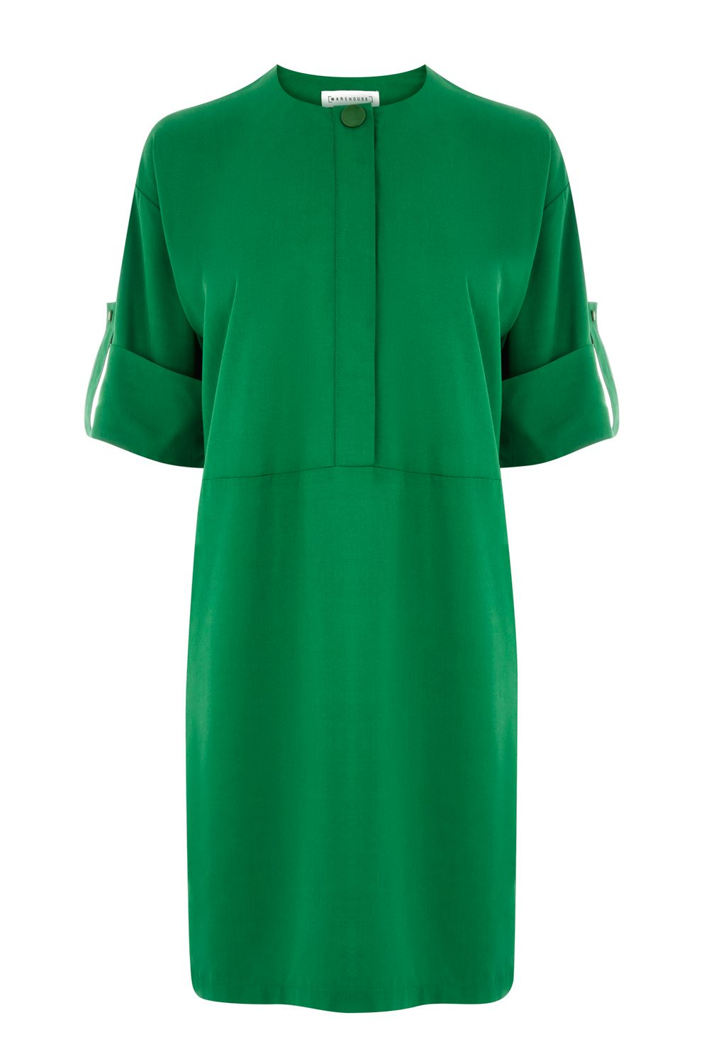 Warehouse Popper Detail Dress, Green