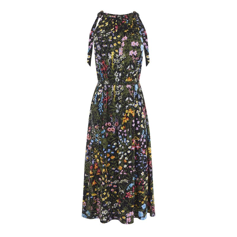 Warehouse Wild Garden Tie Shoulder Dress, Multi-Coloured