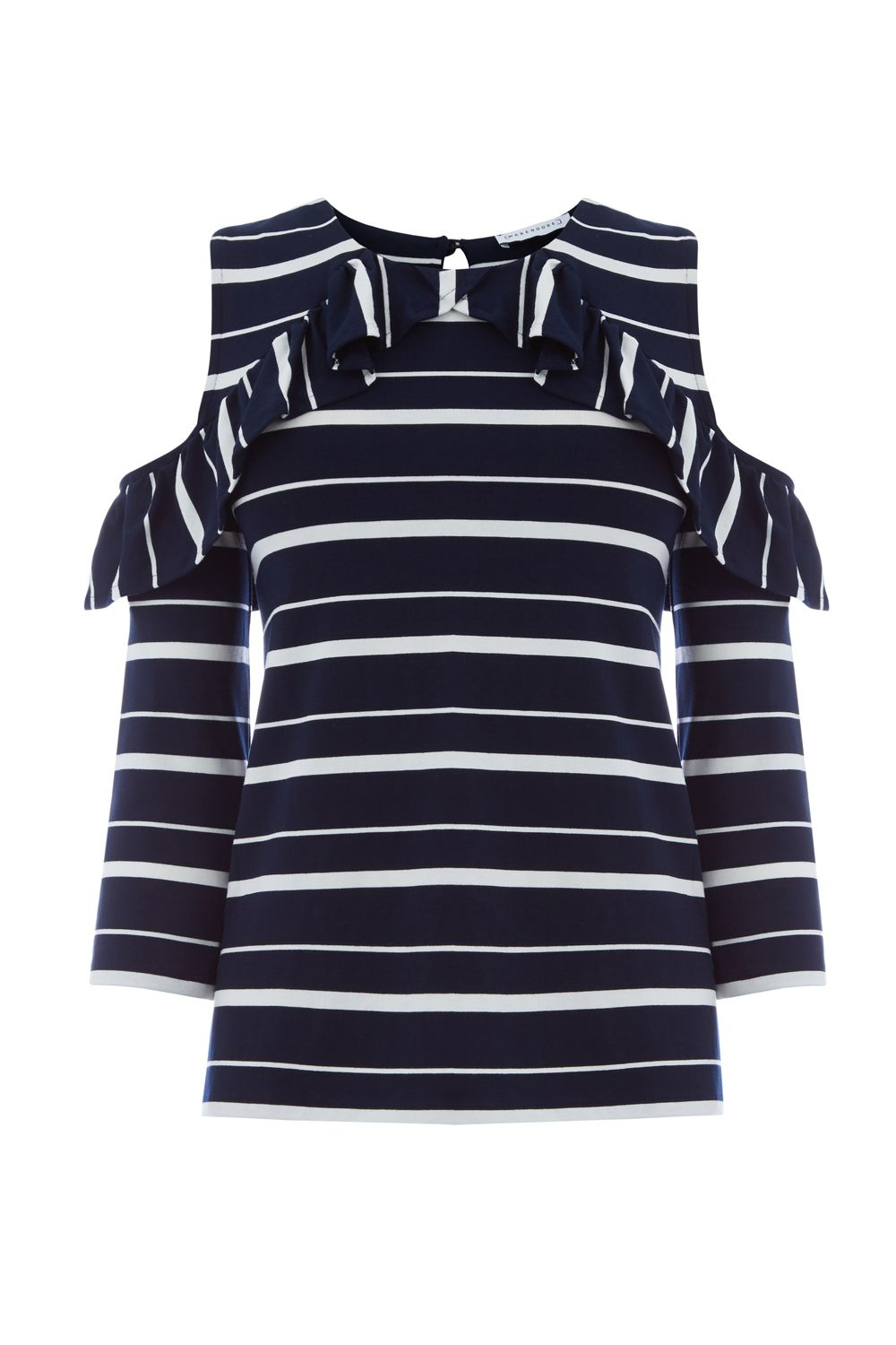 Warehouse Stripe Cold Shoulder Top, Blue