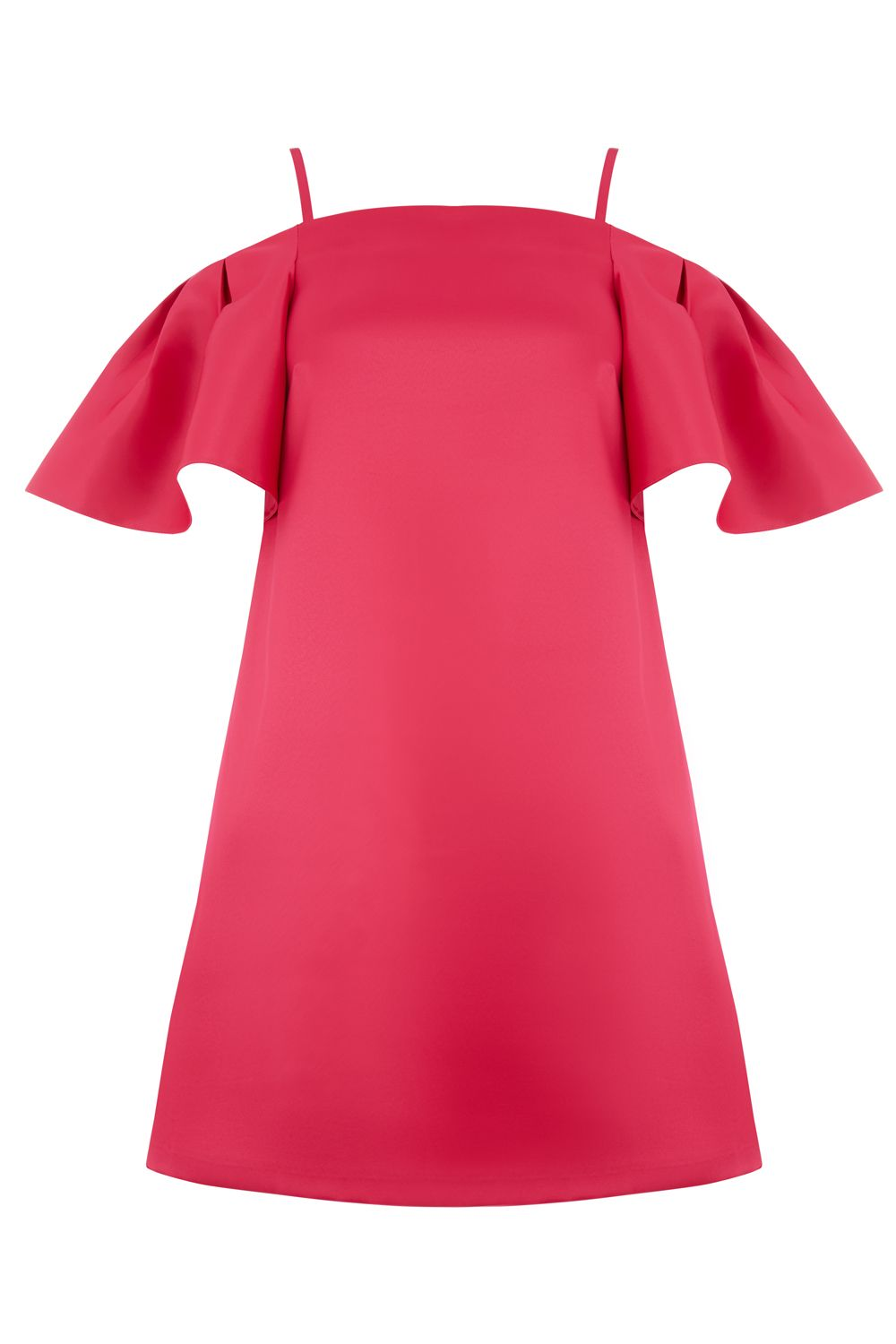Warehouse Satin Off Shoulder Dress, Pink