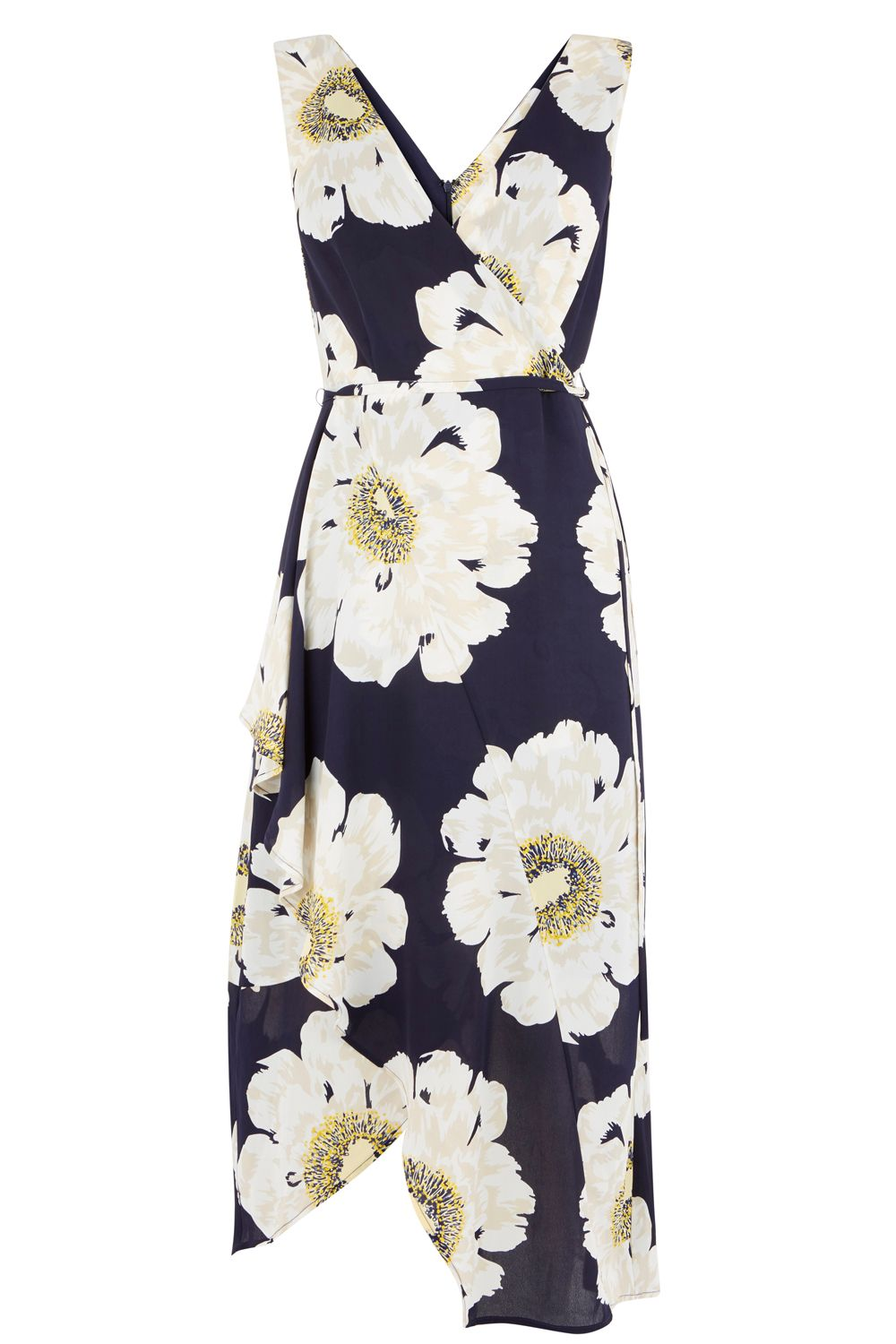 Warehouse Melody Floral Midi Dress, Blue