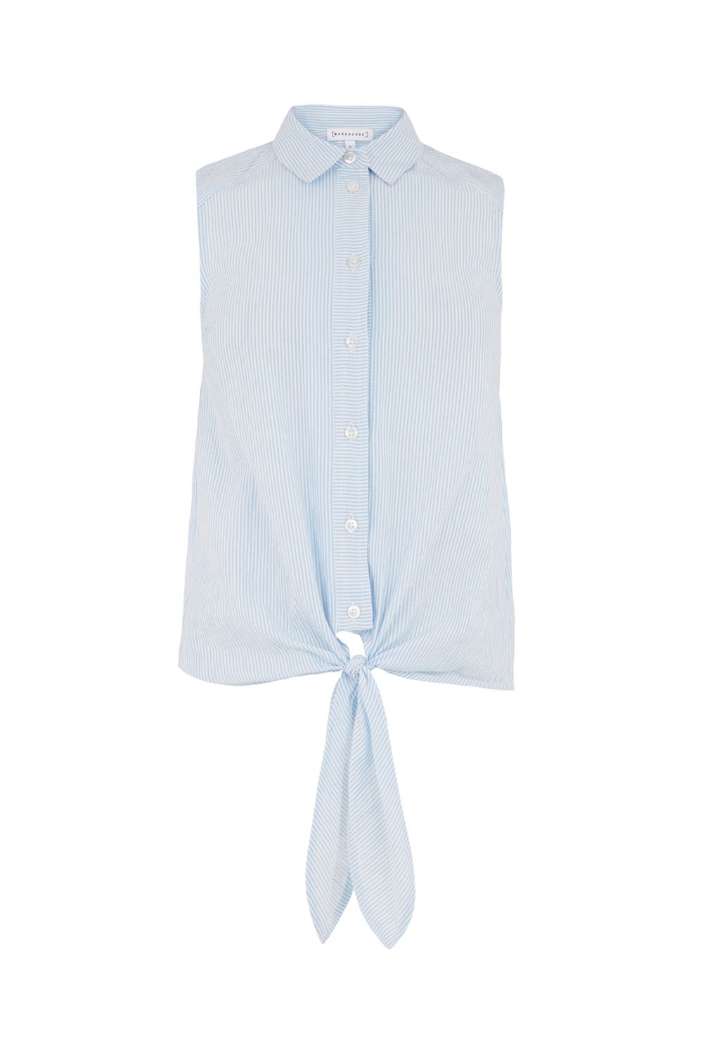 Warehouse Seersucker Sleeveless Shirt, Blue