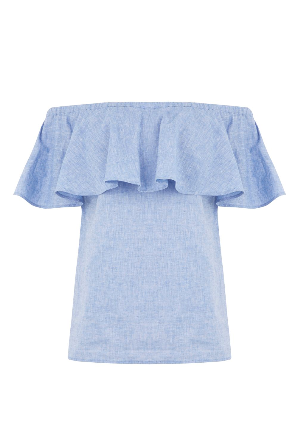 Warehouse Chambray Bardot Ruffle Top, Light Blue