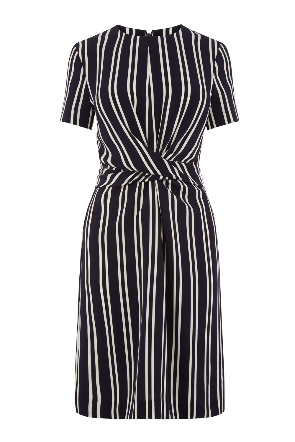 Warehouse Stripe Twist Front Dress, Blue