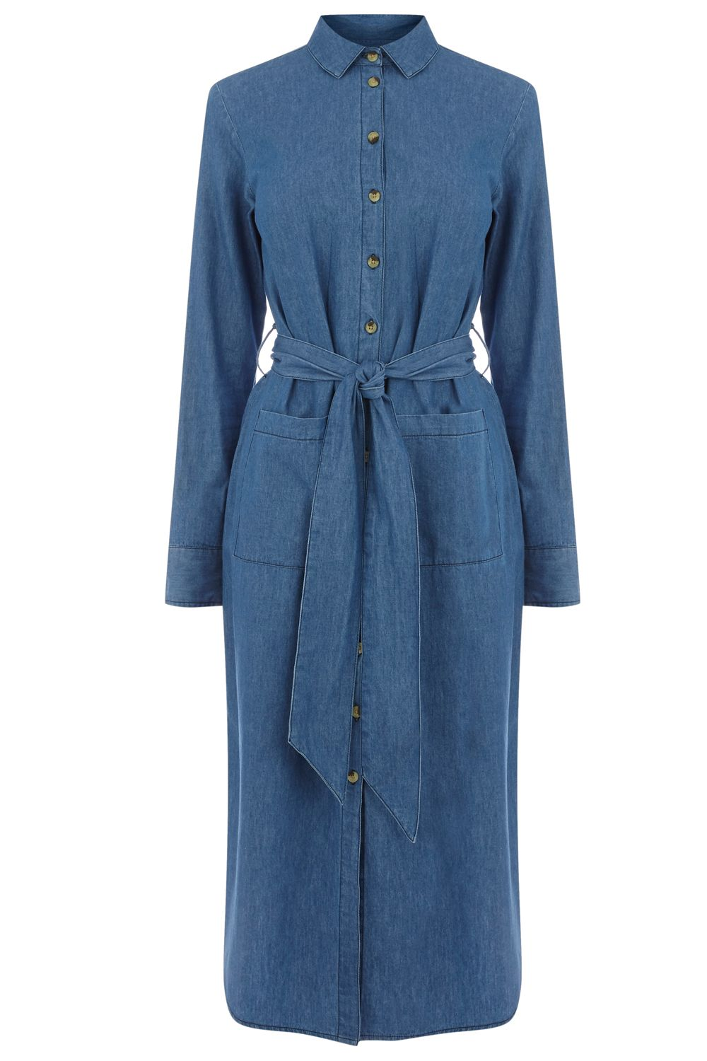 Warehouse Denim Shirt Midi Dress, Denim