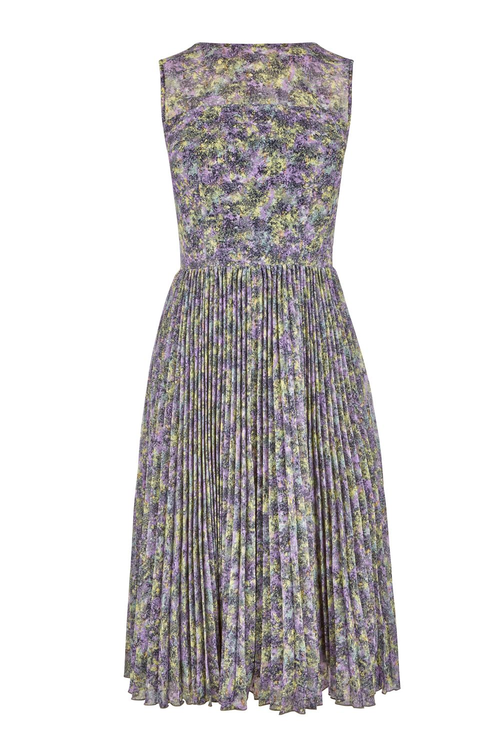 Warehouse Printed Pleated Midi Dress, Multi-Coloured