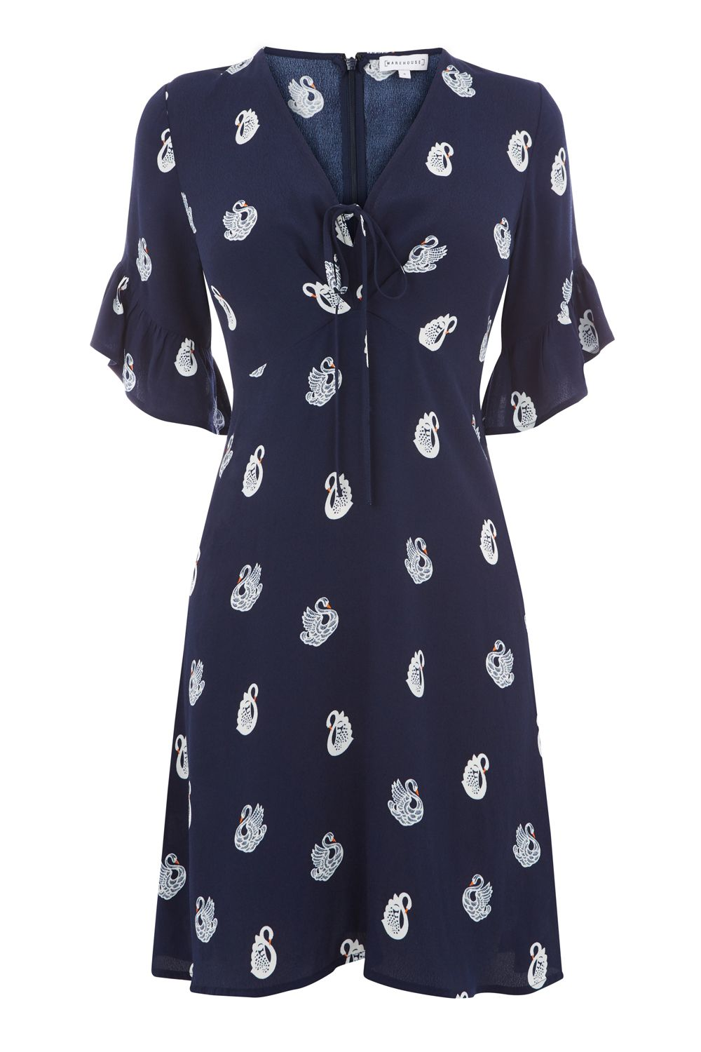 Warehouse Swan Print Dress, Blue