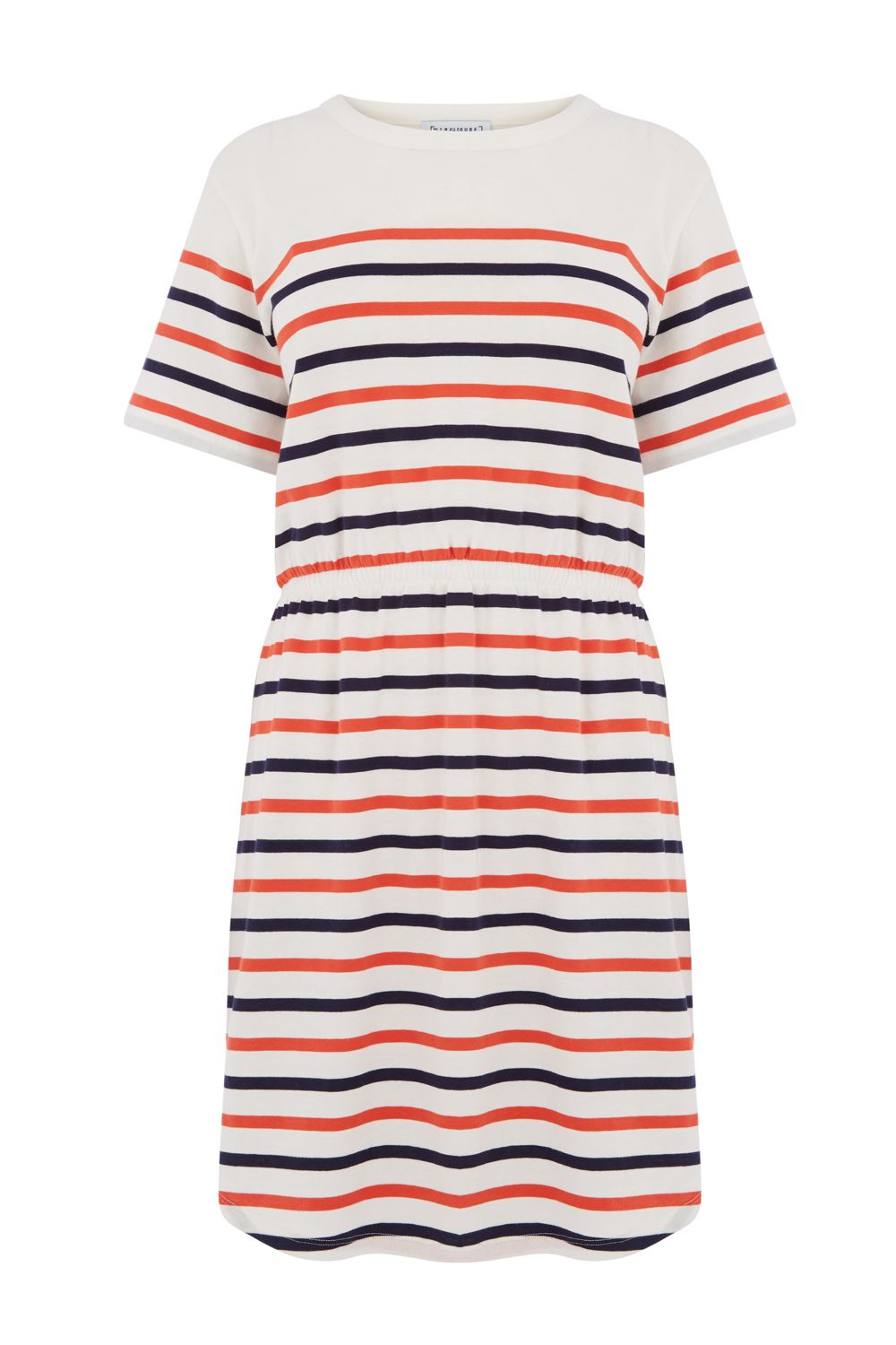 Warehouse Engineered Stripe Dress, White