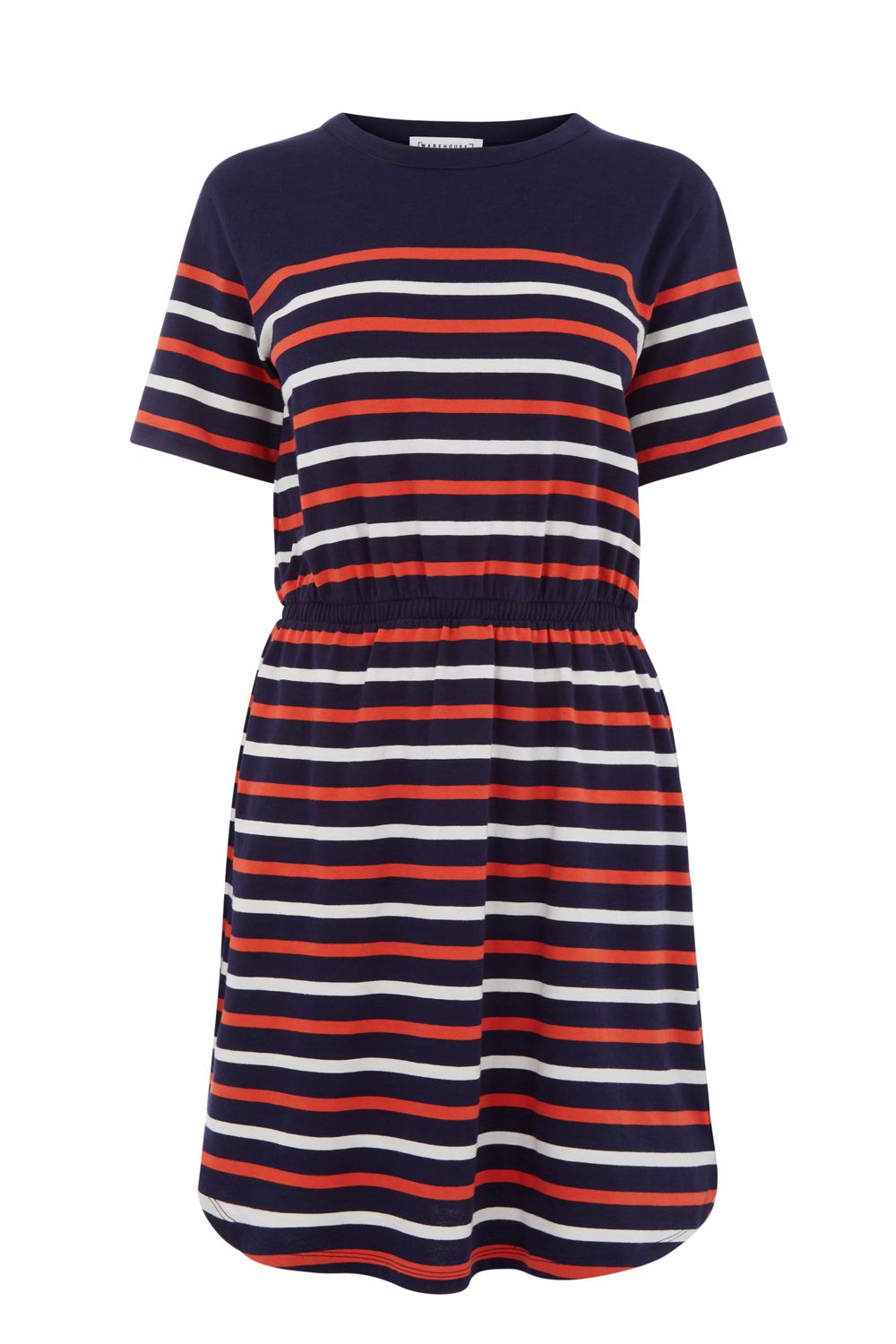 Warehouse Engineered Stripe Dress, Blue