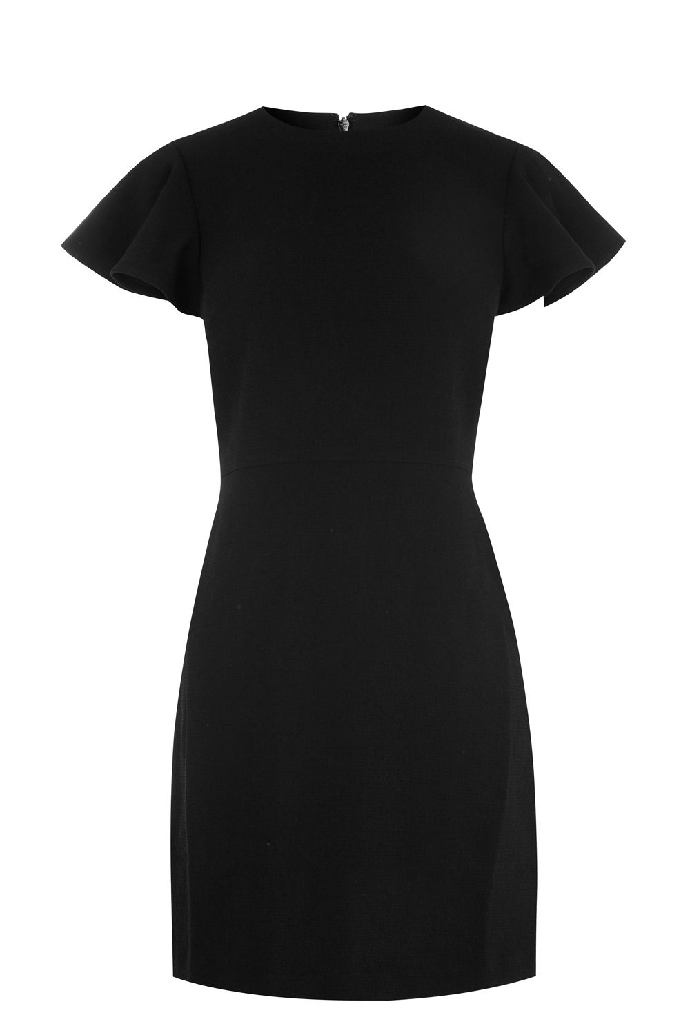 Warehouse Frill Sleeve Crepe Dress, Black