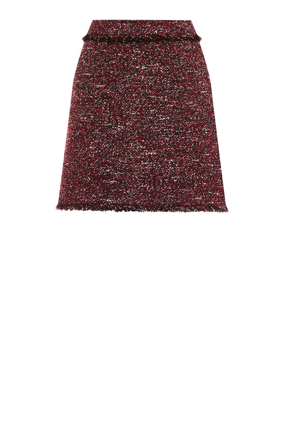Warehouse Victoria Tweed Skirt, Red