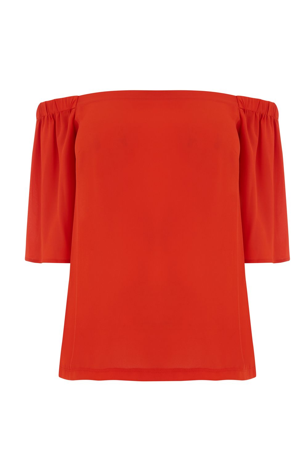 Warehouse Woven Front Bardot Top, Red
