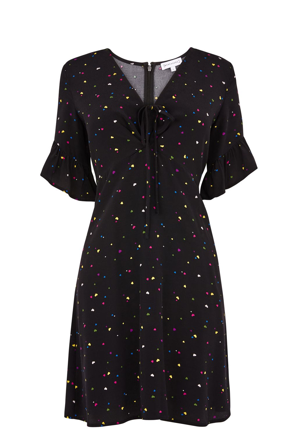 Warehouse Heart Print Tea Dress, Black