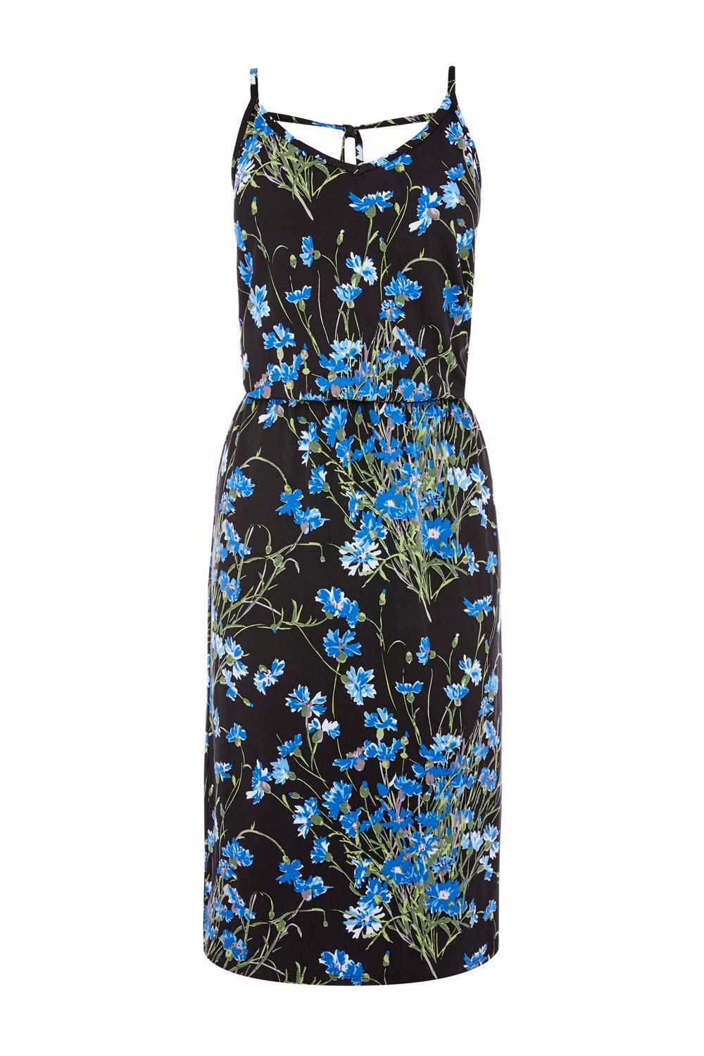 Warehouse Full Bloom Midi Dress, Black