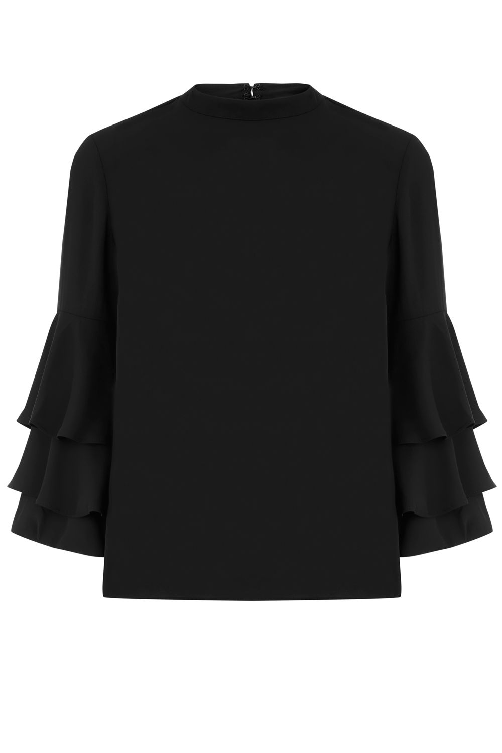 Warehouse Tiered Sleeve Top, Black